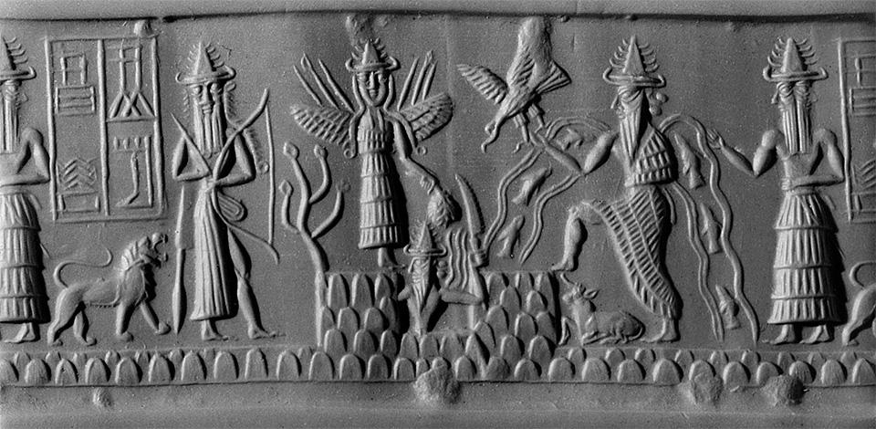 Отпечаток цилиндрической печати аккадского периода. Бог Эа изображен с потоками воды, в которых плавают рыбы. Примерно 2300 г. до н.э.