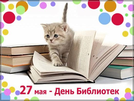 Открытки. 27 мая С днем библиотек! Котенок шагает по книгам открытки фото рисунки картинки поздравления