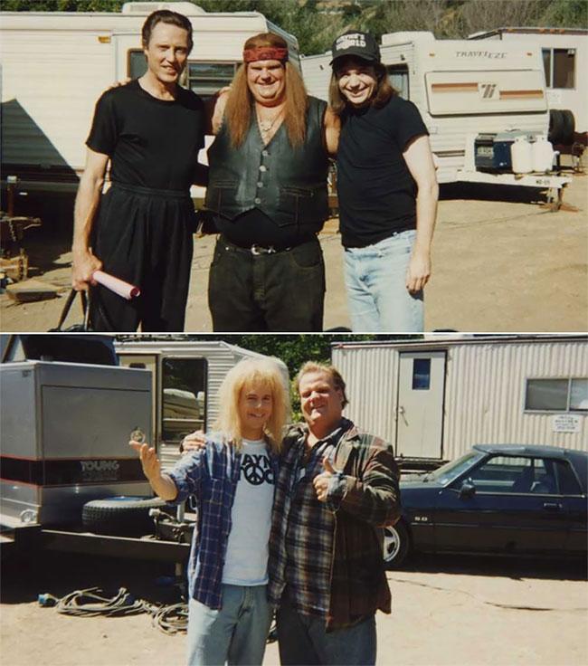 Кристофер Уокен, Крис Фарли и Майк Майерс на съемках фильма «Мир Уэйна 2».