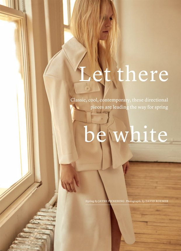 Emilie Evander in Let There be White for Marie Claire UK February 2017