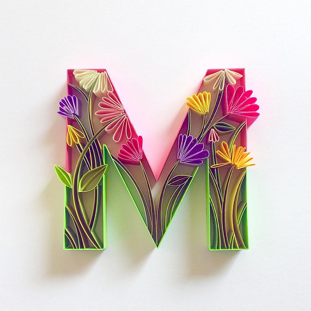 Colorful Quilled Typography by Sabeena Karnik