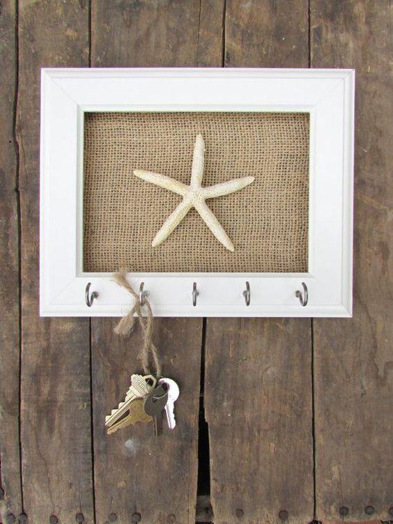 ключница в морском стиле, рамка, холст, крючок. морская звезда