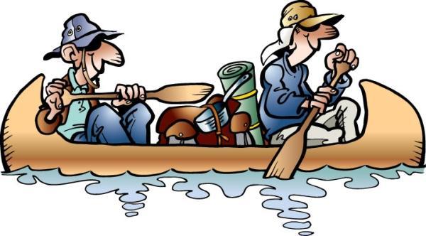 Открытка. День туризма. Путешествие на лодке
