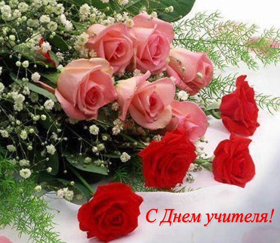 Открытки. С Днем Учителя!  Розы и гвоздики