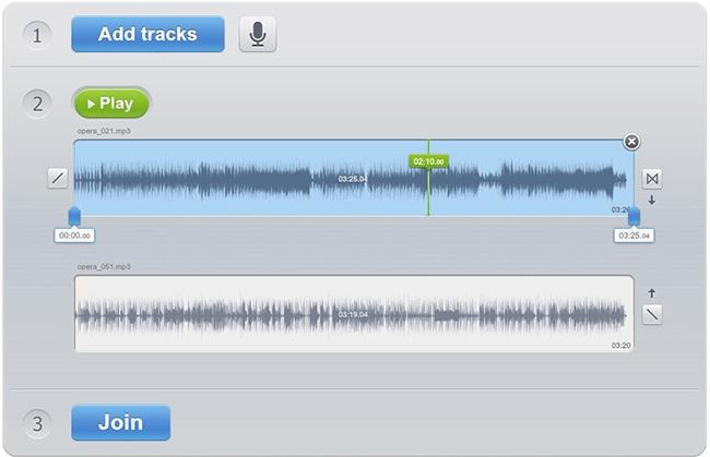 © audio-joiner.com  Очень простой онлайн-редактор для микширования аудиофайлов. Можно соединят