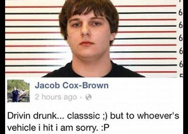 Еще один нетрезвый водитель — 18-летний Джейкоб Кокс-Браун, случайно ударивший чужую машину. Это соб