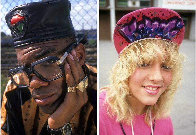Слева: MC Duke в Лондоне в 1980 году. Справа: молодая девушка с граффити на козырьке кепки, Лондон,