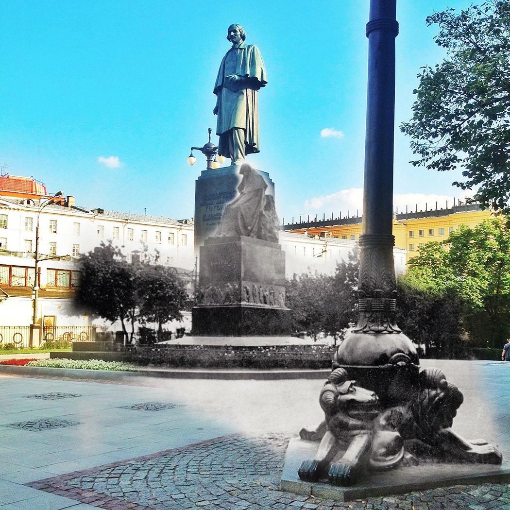 16. Памятник Гоголю. Памятник Гоголю, стоящий на Гоголевском бульваре, не всегда был таким жизнерадо