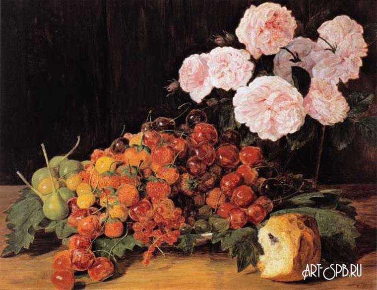 18846.jpgНатюрморт с розами, клубникой и хлебом. Фердинанд Георг Вальдмюллер.jpg