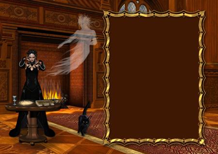 Рамка для фото с ведьмой у стола со снадобьями рядом с камином в замке и привидением-мужчиной