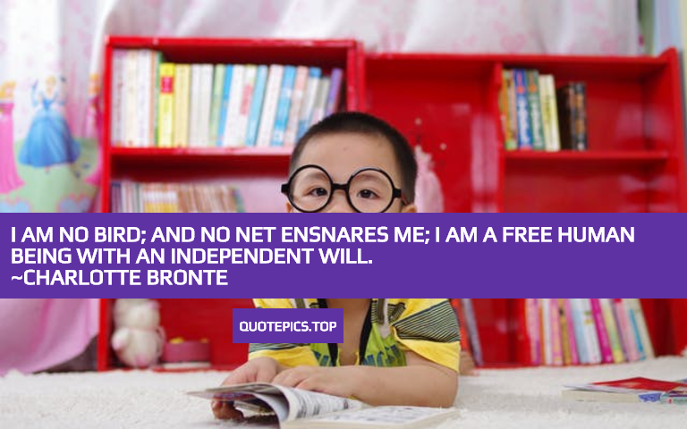 I am no bird; and no net ensnares me; I am a free human being with an independent will. ~Charlotte Bronte