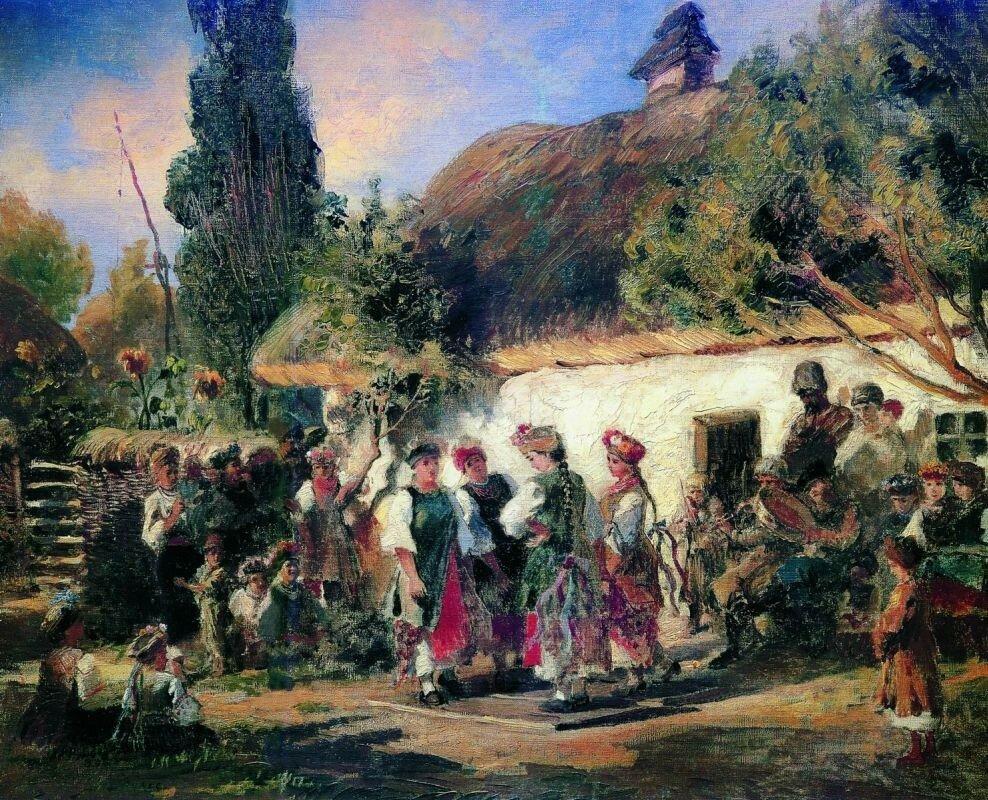 Константин Егорович Маковский.Праздник в Малороссии. Эскиз. 1880-e.