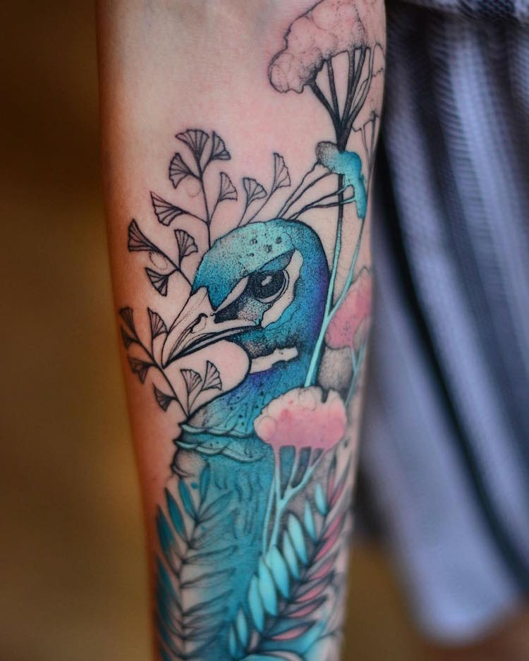 Animal Tattoos Add Bright Pops of Color to Sketch-like Tattoo Animals (24 pics)