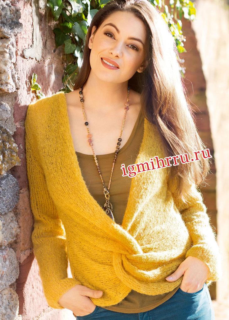 Мягкий теплый пуловер с переплетенными полочками. Вязание спицами