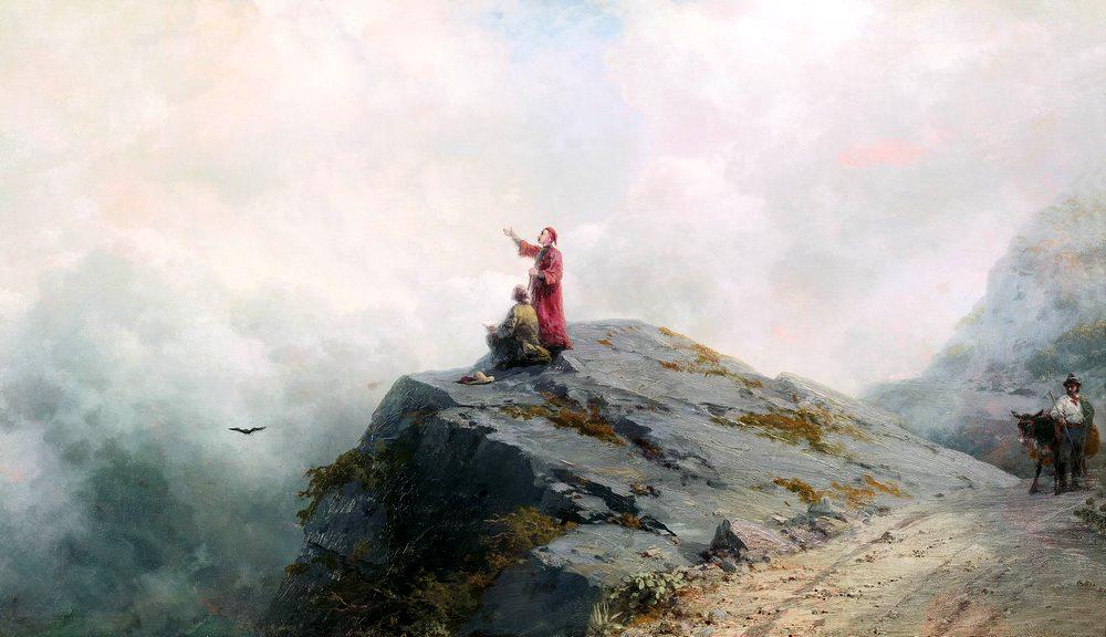 Данте указывает художнику на необыкновенные облака 1883 год
