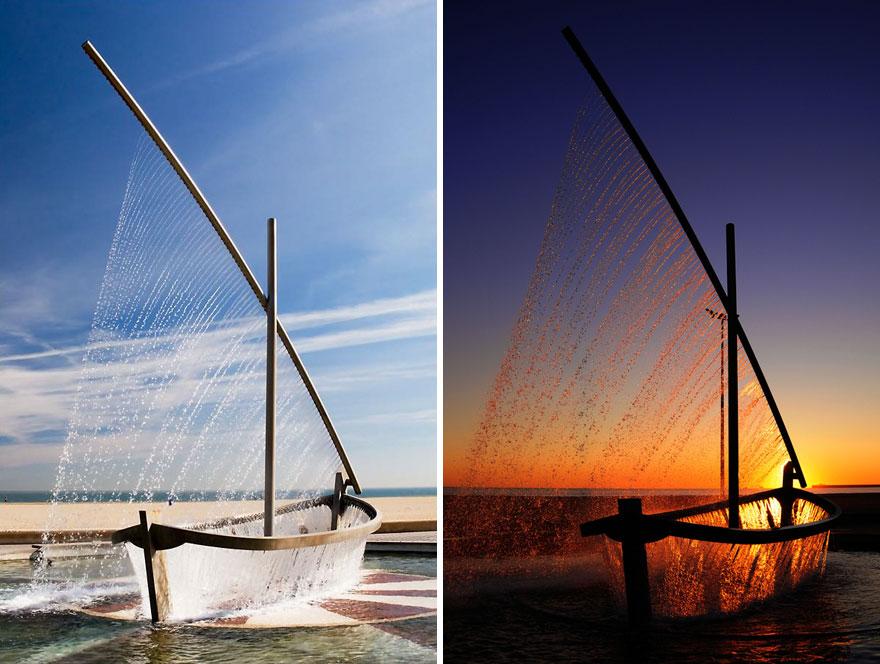 Фонтан Water Boat («лодка», «судно») находится на пляже Мальварроса в Валенсии, Испания.