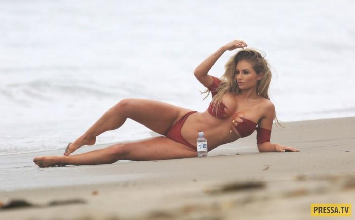 Amy Lee Summers модель из Новой Зеландии на пляже
