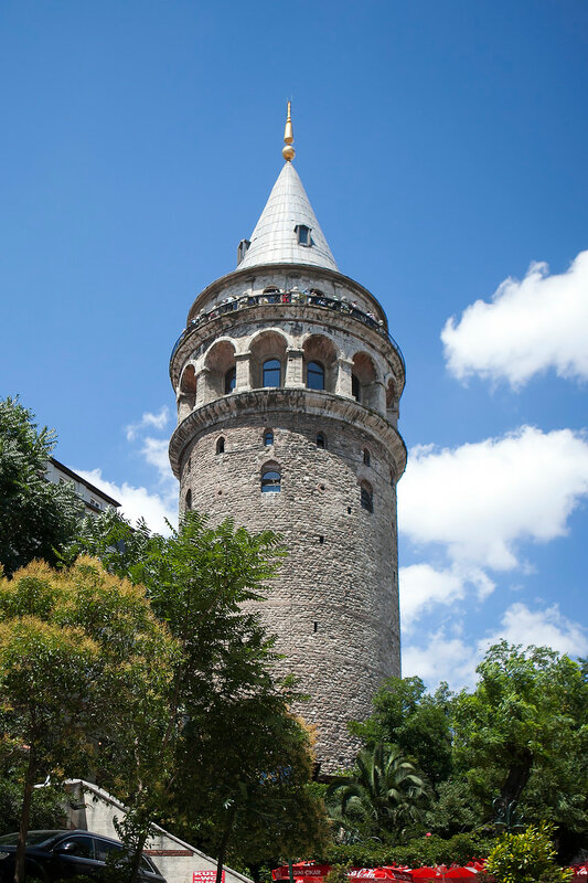 Galata tower from below with blue sky in istanbul