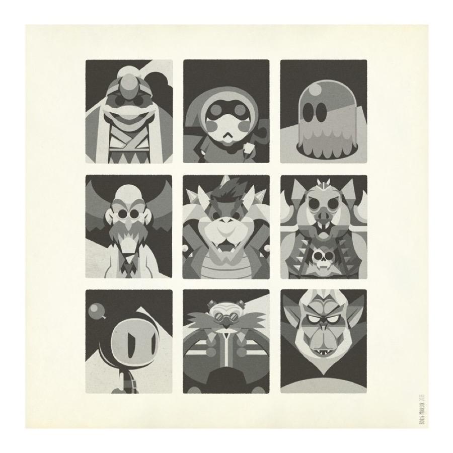 Minimalist Print of Heroes & Vilains in Video Games
