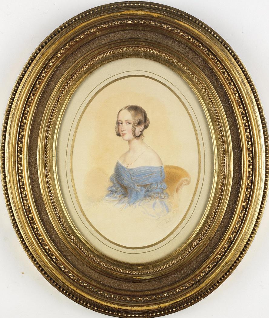1385037044-portrait-eines-jungen-m-dchen-in-blauem-schulterfreiem-kleid-aquarell-auf-papier-signiert-m.-peter.jpg