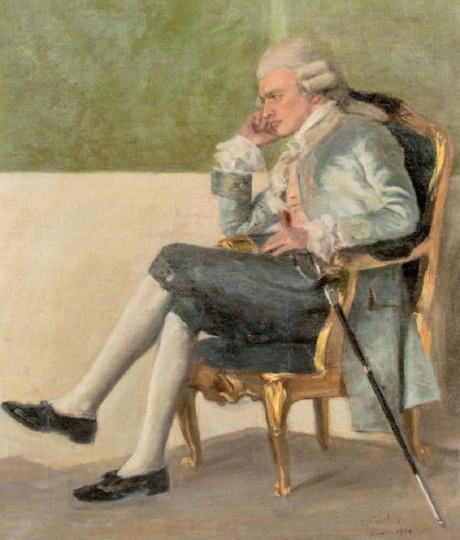 Portrait de jeune homme en costume gustavien Huile sur toile