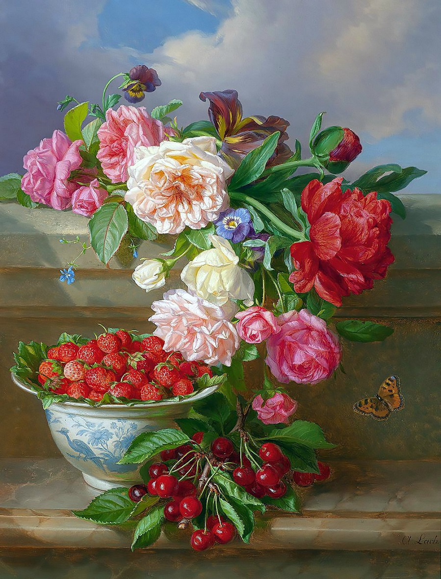 Still Life with Roses, Peonies, Strawberries and Cherries