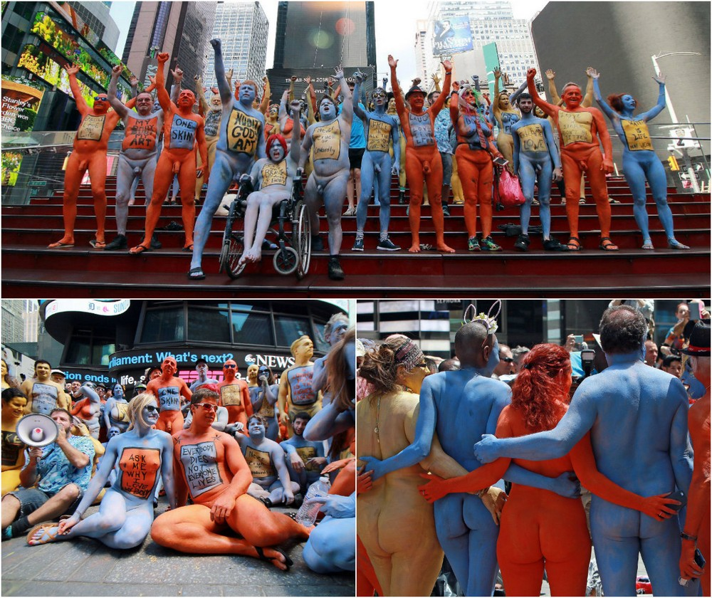 Сотни голых людей на Таймс Сквер