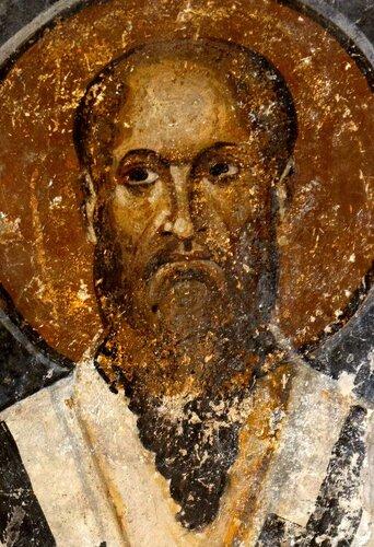 Святитель Мина, Патриарх Константинопольский. Фреска собора Святой Софии в Охриде, Македония. 1037 - 1056 годы.