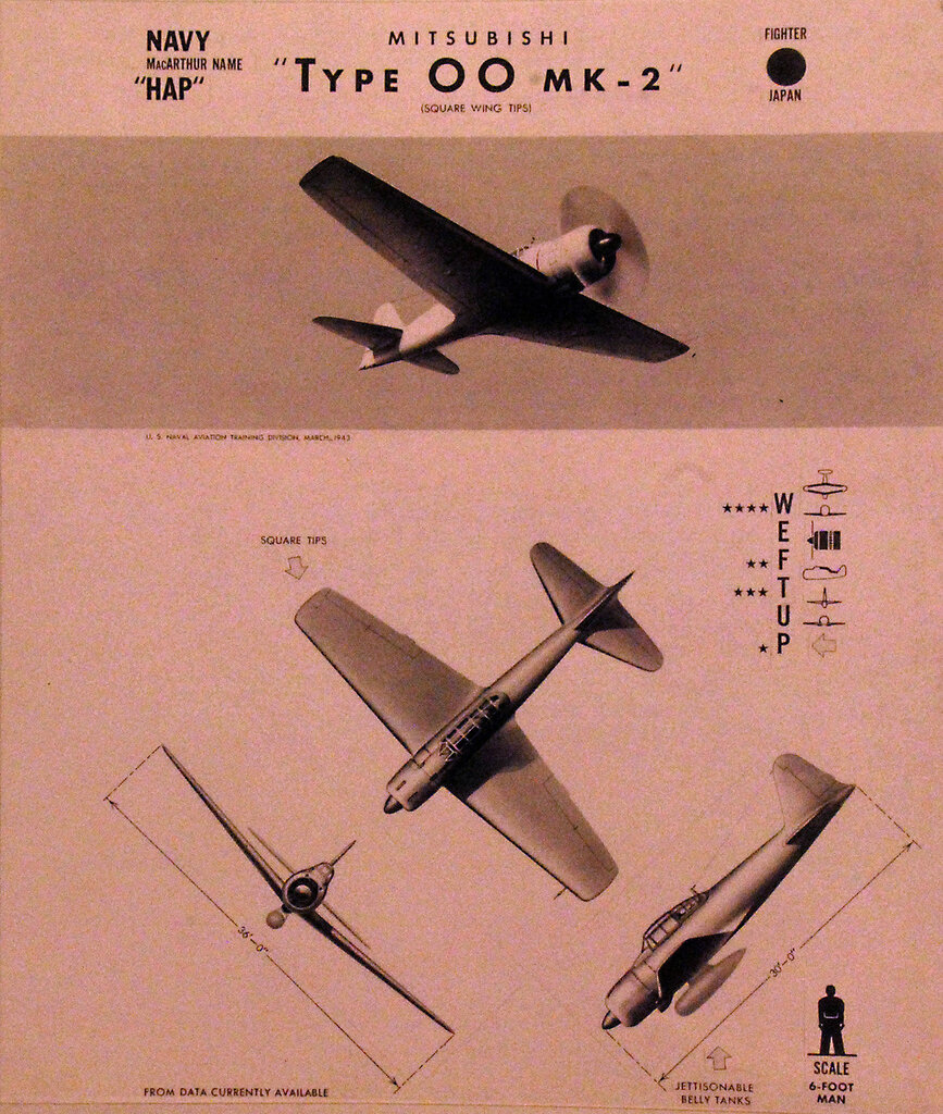 """Recognition drawing Japanese fighter Mitsubishi """"Hap"""" Type 00, Mark 2. October 23, 1943."""