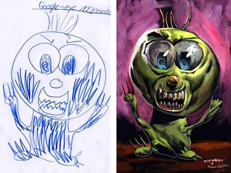 Детские рисунки в исполнении Дэйва Дэвриса (26 фото)