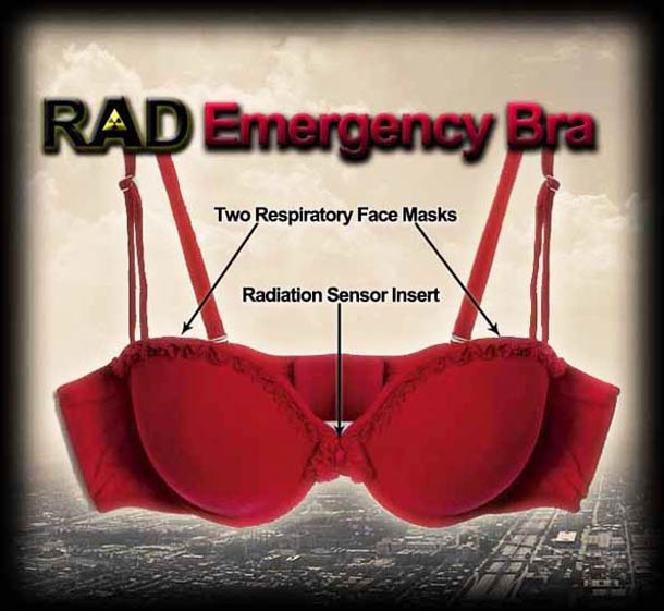 RAD Emergency Bra - A bra with radiation sensor that converts into two gas masks