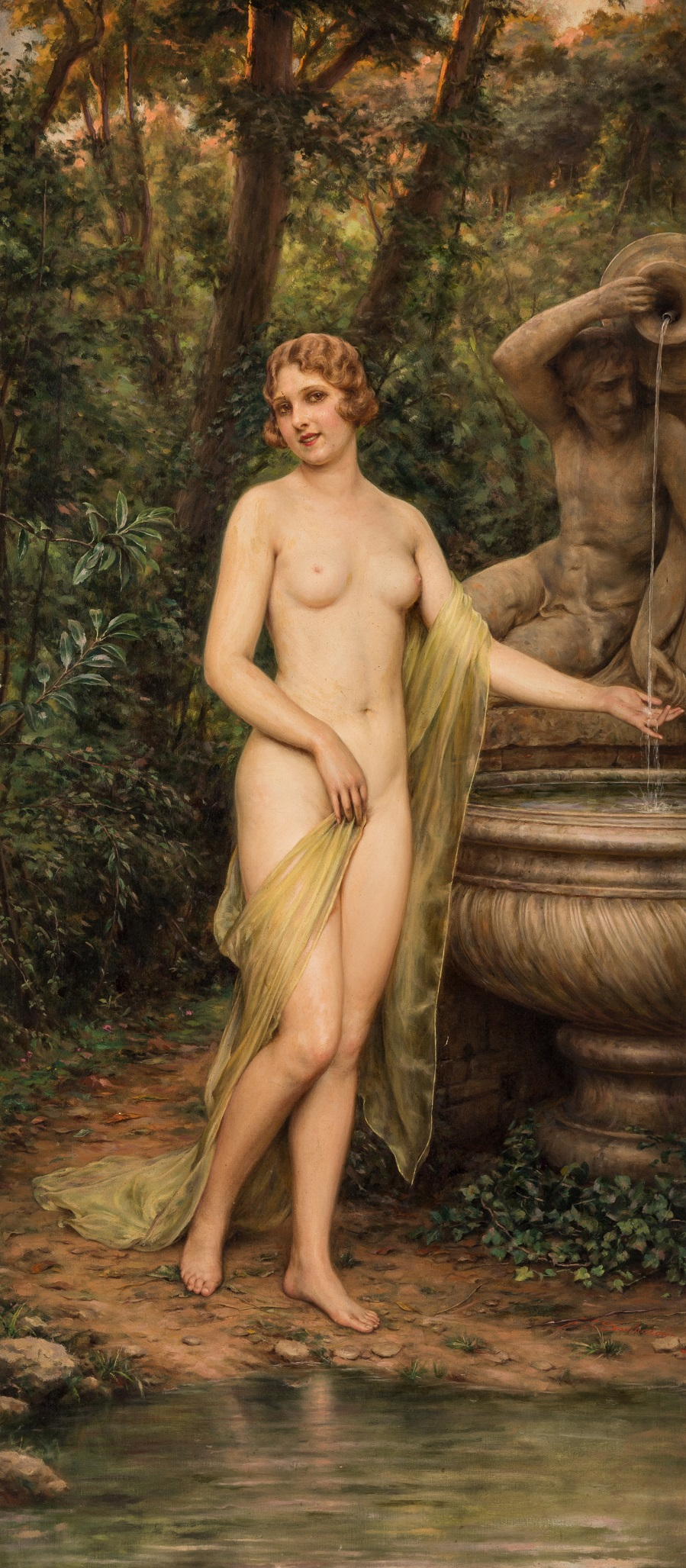 Nude by a Fountain