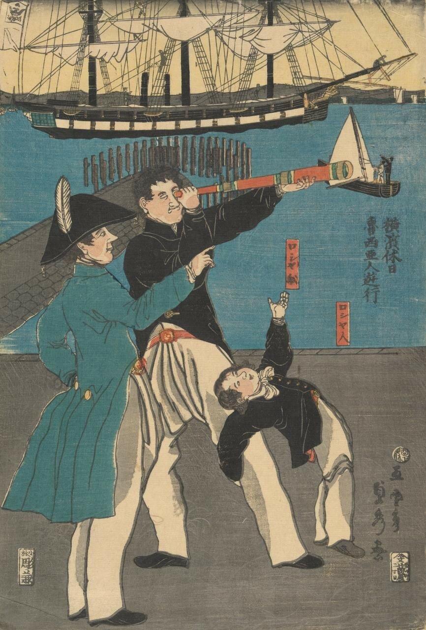 1861. Утагава Садахидэ. Праздник в Иокогаме. Русские на прогулке