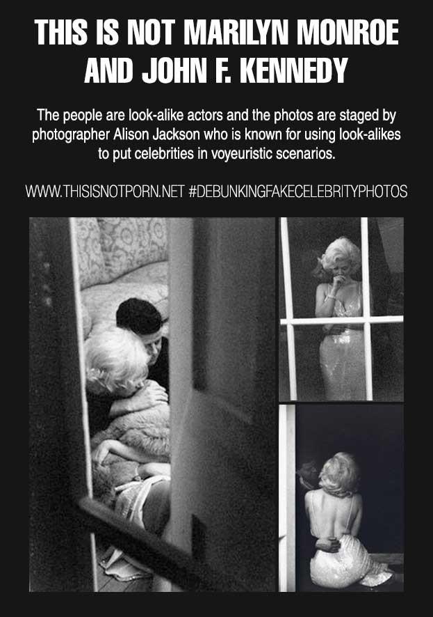 «Это не Мэрилин Монро и Джон Кеннеди. Люди на фотографии — похожие на них актеры, а автором является