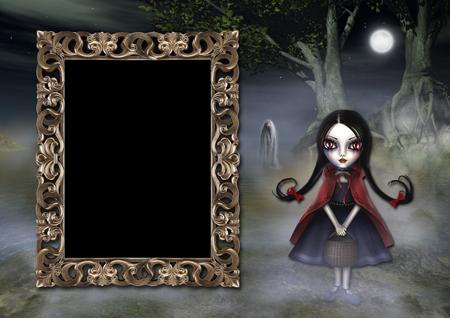Рамка для фото с девочкой в тумане около озера  ночью и привидением
