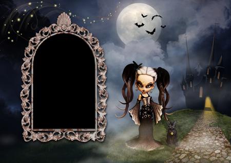 Фоторамка на Хеллоуин с ведьмой-куколкой и черным котом около черного замка с привидениями