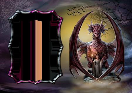 Фоторамка с ведьмой и огромным драконом