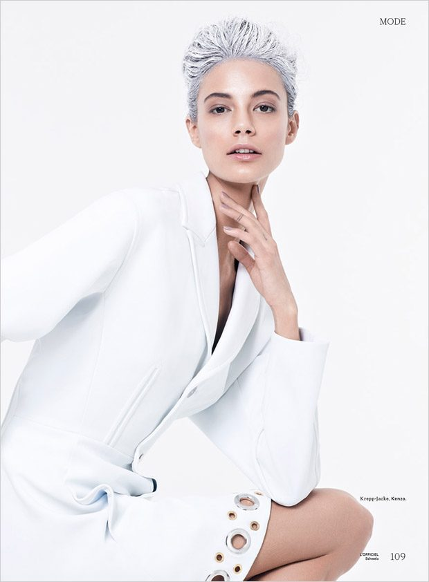 Anja Leuenberger in White On White for L'Officiel Switzerland May 2017 Issue