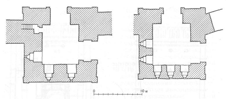 Планы первых ярусов воротных башен Смоленской крепости (Еленинская и Авраамиевская)