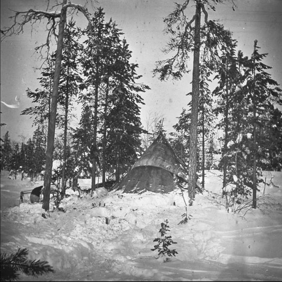 Хижина Кая Доннера в заснеженном лесу