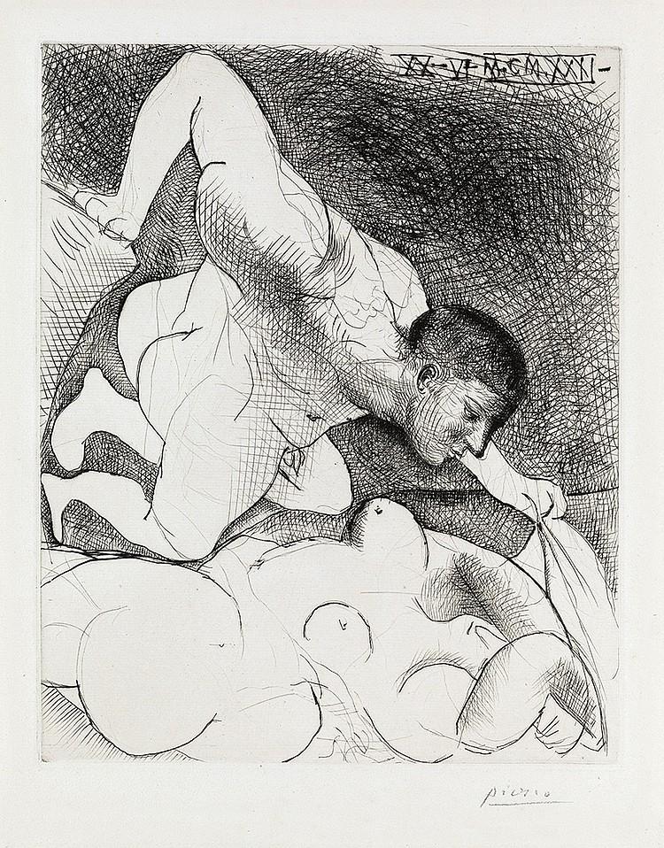 Пикассо, 1931 года, Мужчина, раскрывающий с женщину,