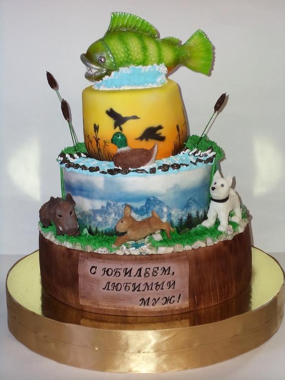 Юбилейный торт для охотника-рыболова
