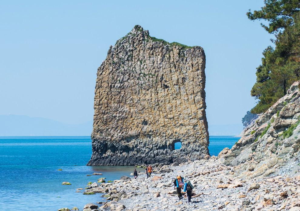 42. Скала представляет собой вертикально стоящий на берегу моря пласт песчаника, отделённый от