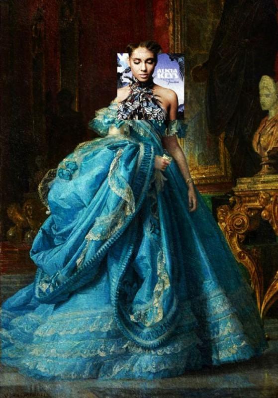Обложка альбома Алиши Киз The Element of Freedom и картина Винсенте Пальмароли «Инфанта Исабель Бурб