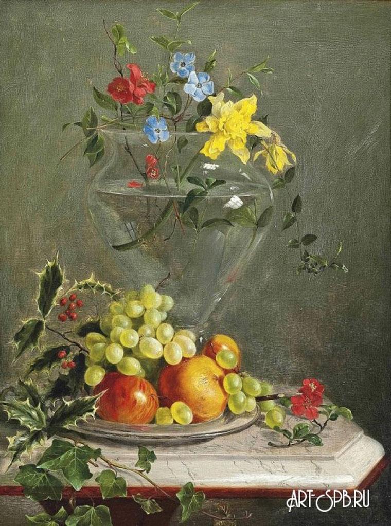18851.jpgНатюрморт с цветами в стеклянной вазе и фруктами на блюде на мраморном выступе. Франц Ксавер Петтер.jpg