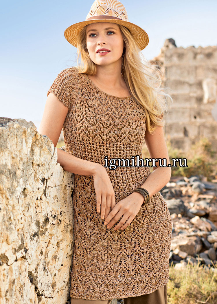 Коричневое меланжевое платье с миксом ажурных узоров. Вязание спицами