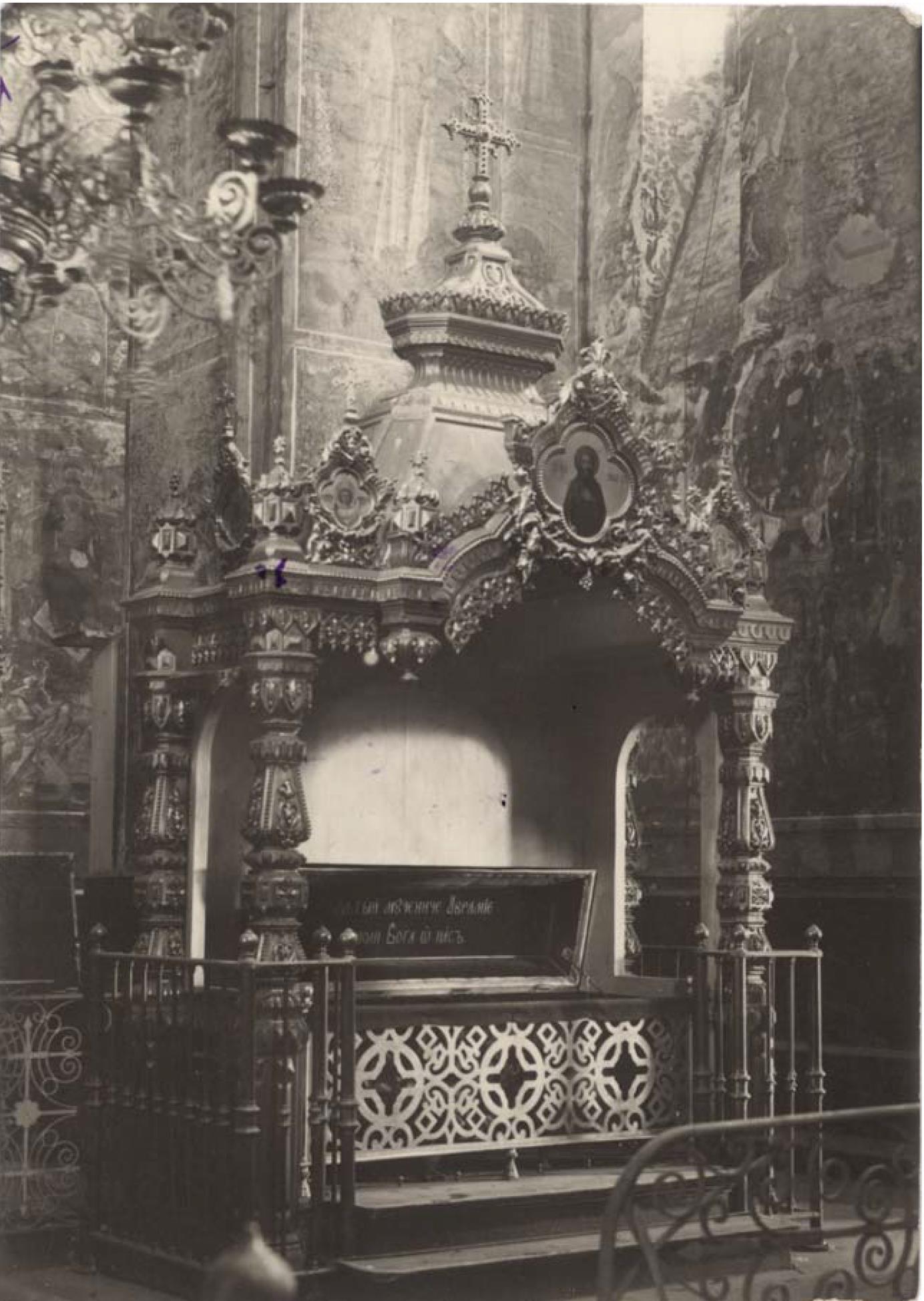 Княгинин монастырь. Рака св. мученика Аврамия Болгарского. Вид с северо-востока. Монументальное сооружение с гробницей-ракой внутри (не сохр.)