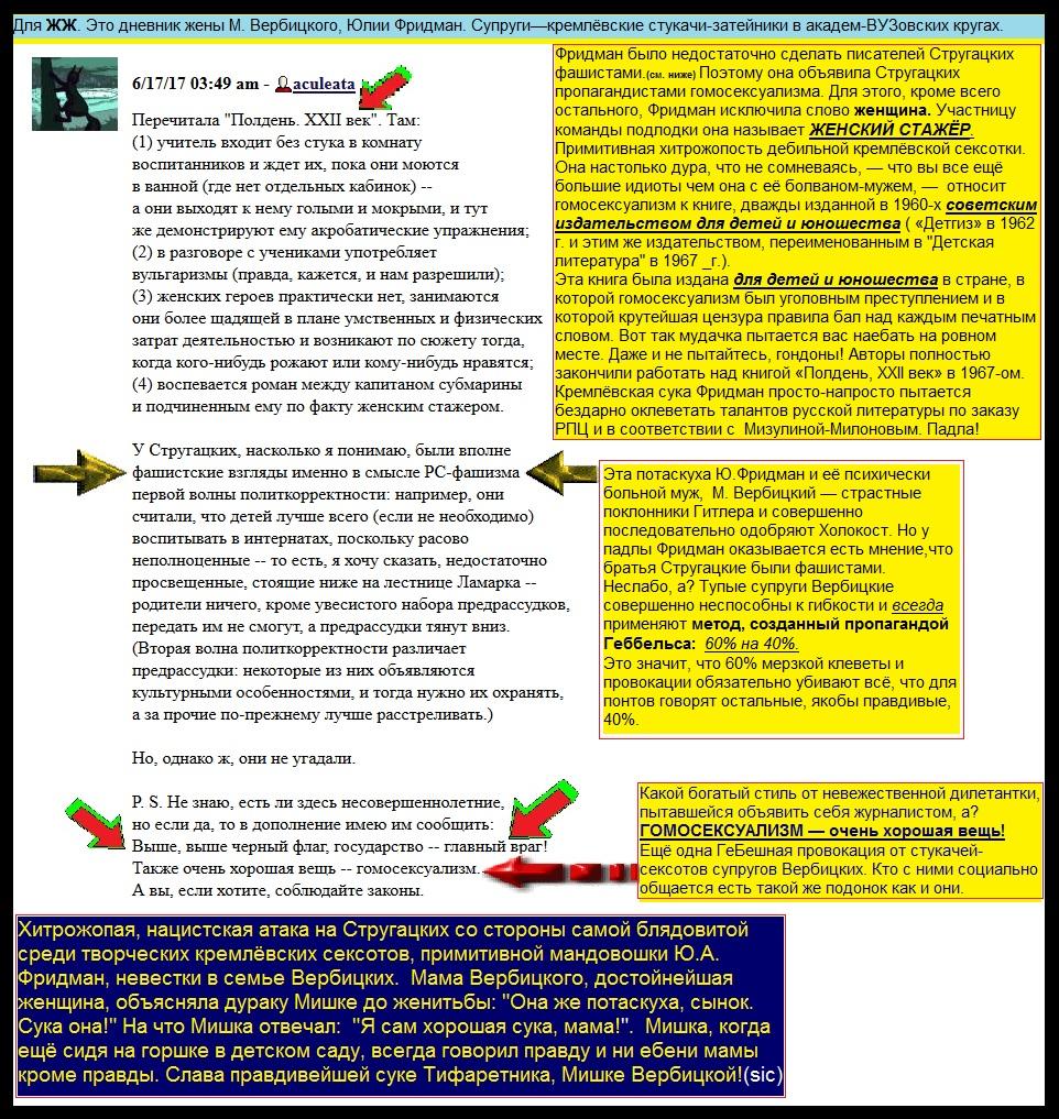 Сексотка Фридман-Вербицкая создала гнусную провокацию и грязную клевету о братьях Стругацких.
