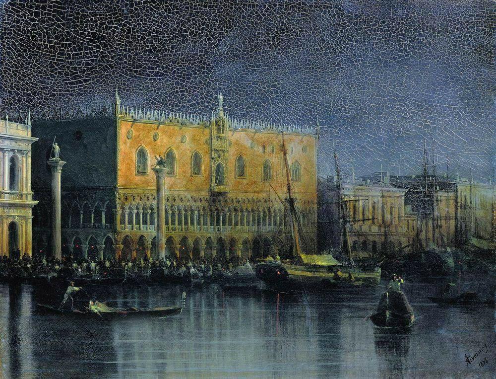 Дворец дожей в Венеции при луне. 1878 год