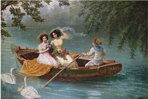 Киёхара Тама (яп. 清原玉, 1861—1939) Девушки в лодке на озере